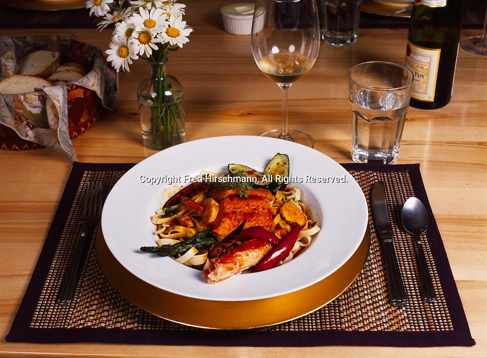 Salmon, king crab and scallop fettucini served for dinner at Winterlake Lodge, Finger Lake, Alaska.