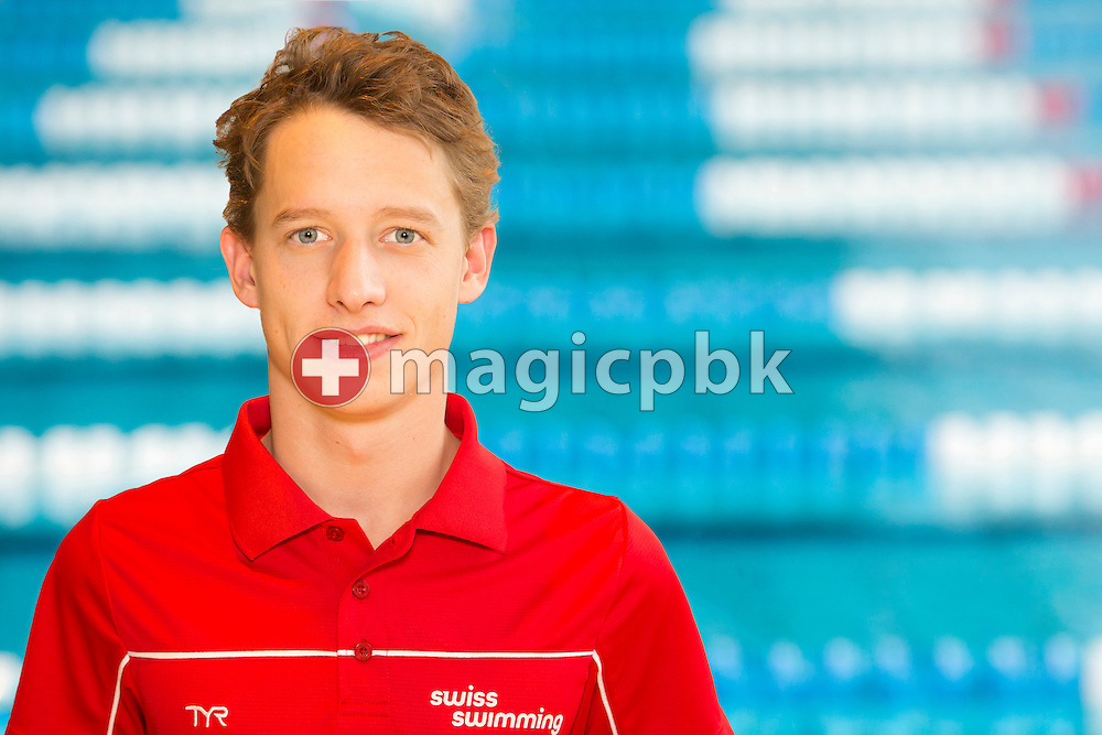 Swimmer Thomas LIESS of Switzerland is pictured during a portrait session during the Swiss Short Course Swimming Championships in Uster, Switzerland, Tuesday, Aug. 12, 2014. (Photo by Patrick B. Kraemer / MAGICPBK)