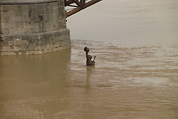 """Captains Return"" Statue up to his neck with flood water. Saint Louis MO, 100 Year Flood on the Mississippi River 19 March 2008."