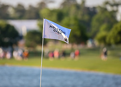 March 30, 2018 - Humble, TX, U.S. - HUMBLE, TX - MARCH 30:  Pin flag on 18 flies in the morning breeze during Round 1 of the Houston Open on March 30, 2018 at Golf Club of Houston in Humble, Texas.  (Photo by Leslie Plaza Johnson/Icon Sportswire) (Credit Image: © Leslie Plaza Johnson/Icon SMI via ZUMA Press)