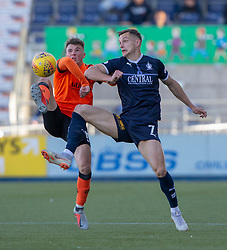 Dundee United's Jamie Robson and Falkirk's Deimantas Petravicius. Falkirk 0 v 2 Dundee United, Scottish Championship game played 22/9/2018 at The Falkirk Stadium.