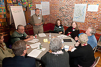 Facilitator Alan Robichaud listens as his group joins in a discussion pertaining to downtown mobility/traffic at the Belknap Mill Monday evening.    (Karen Bobotas/for the Laconia Daily Sun)