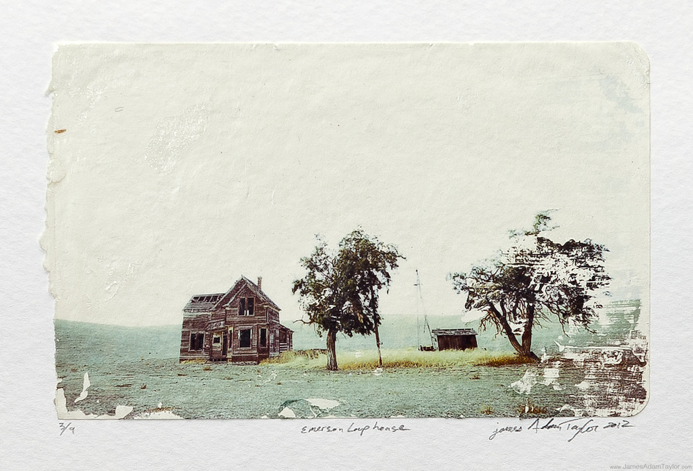 """Description:<br /> An old homestead among the dry hills of central Oregon.<br /> This is a print from my 2012 Photo Transfers solo show at the Ocean City Arts Center in Ocean City, NJ. <br /> <br /> Medium: Acrylic Gel Transfer to moleskin note pad paper<br /> <br /> Size: image size is approximately 3.5"""" x 5.5"""""""" mounted on 9"""" x 12"""" watercolor paper with a dab of archival quality PVA.<br /> <br /> Edition size:9 <br /> <br /> Note:<br /> Each print is slightly different, due to the transfer process there are differences in the blotches and absence of ink from print to print making each one unique."""