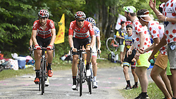 July 8, 2017 - Station Des Rousses, FRANCE - Belgian Thomas De Gendt of Lotto Soudal and Belgian Tiesj Benoot of Lotto Soudal pictured in action during the eighth stage of the 104th edition of the Tour de France cycling race, 187,5km from Dole to Station des Rousses, France, Saturday 08 July 2017. This year's Tour de France takes place from July first to July 23rd...BELGA PHOTO DIRK WAEM (Credit Image: © Dirk Waem/Belga via ZUMA Press)