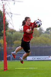 NEWPORT, WALES - Friday, October 5, 2018: Wales' goalkeeper Deanna Lewis during a training session at Dragon Park. (Pic by David Rawcliffe/Propaganda)