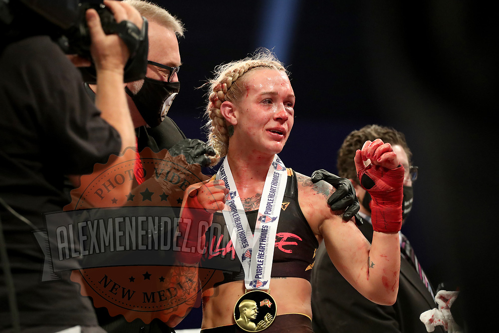TAMPA, FL - FEBRUARY 05: Taylor Starling wins the fight against Charisa Sigala during the BKFC KnuckleMania event at RP Funding Center on February 5, 2021 in Tampa, Florida. (Photo by Alex Menendez/Getty Images) *** Local Caption *** Charisa Sigala; Taylor Starling