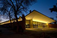 01/Febrero/2021 Madrid.<br /> Pabellón de Exposiciones del Ayuntamiento de Madrid en la Casa de Campo iluminado por AOM.<br /> <br /> ©JOAN COSTA