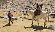 Horsing around in Huanacpatay Valley, Cordillera Huayhuash, Andes Mountains, Peru, South America. Day 6 of 9 days trekking around the Cordillera Huayhuash.