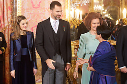 18.01.2011, Royal Palace, Madrid, ESP, Spanish Royals Receive Foreign Ambassadors, im Bild Spanish King Juan Carlos, Queen Sofia, Prince Felipe and Princess Letizia attended the Reception to Foreign Ambassadors at The Royal Palace in Madrid, EXPA Pictures © 2011, PhotoCredit: EXPA/ Alterphotos/ ALFAQUI/ Billy Chappel