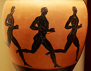 Panathenaic prize-amphora with three runners. Three nude athletes compete in a foot-race. Their arms are bent close to their sides and their postures indicate that they are not sprinters buy long distance runners.