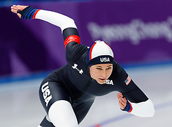 February 18, 2018 - Gangneung, South Korea - Speed skater Brittany Bowe competes during the Ladies Speed Skating 500M finals at the PyeongChang 2018 Winter Olympic Games at Gangneung Oval on Sunday February 18, 2018. (Credit Image: © Paul Kitagaki Jr. via ZUMA Wire)