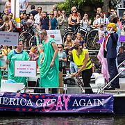 NLD/Amsterdam/20170805 - Gaypride 2017, boot Make America Great (Gay) Again met president Trump look a like