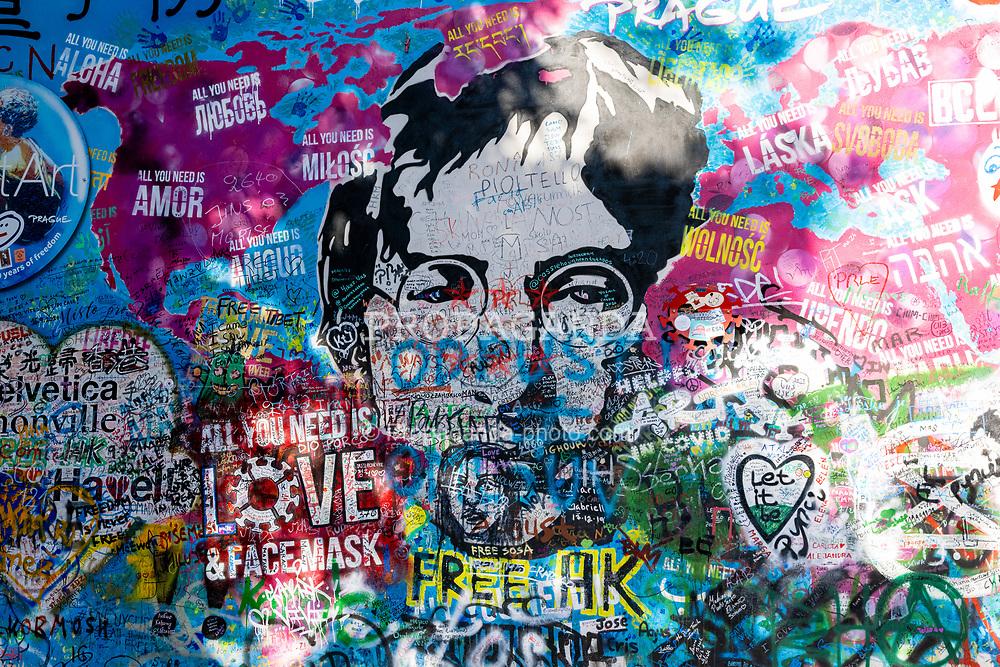 PRAGUE, CZECH REPUBLIC - Friday, October 8, 2021: The John Lennon peace wall in Prague. (Pic by David Rawcliffe/Propaganda)