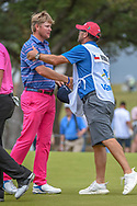 Trey Mullinax (USA) shakes hands following his course record 62 during Round 3 of the Valero Texas Open, AT&T Oaks Course, TPC San Antonio, San Antonio, Texas, USA. 4/21/2018.<br /> Picture: Golffile   Ken Murray<br /> <br /> <br /> All photo usage must carry mandatory copyright credit (© Golffile   Ken Murray)