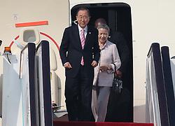 HANGZHOU, Sept. 3, 2016 (Xinhua) -- UN Secretary-General Ban Ki-moon arrives in Hangzhou to attend the G20 Summit in Hangzhou, capital city of east China's Zhejiang Province, Sept. 3, 2016. (Xinhua/Chen Fei) (Credit Image: © Chen Fei/Xinhua via ZUMA Wire)