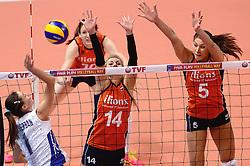 09-01-2016 TUR: European Olympic Qualification Tournament Rusland - Nederland, Ankara<br /> De strijd om Rio of Japan / Yana Shcherban #1 of Rusland, Laura Dijkema #14, Robin de Kruijf #5