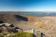 View towards Loch Morlich and Aviemore from close to the Fiacaill Buttress next to Cairngorm, Cairngorms National Park, Highlands, Scotland, UK