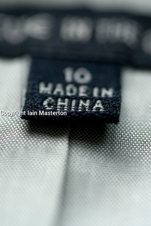Detail of Made in China clothes label