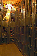 A wine cellar with precious bottles guarded behind iron bars. Stockholm, Sweden, Sverige, Europe