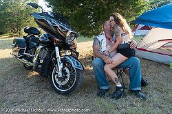 Billy Pixley and Chrissy Phipps of Denton, TX at the 2016 ROT (Republic of Texas Rally). Austin, TX, USA. Thursday, June 9, 2016.  Photography ©2016 Michael Lichter.
