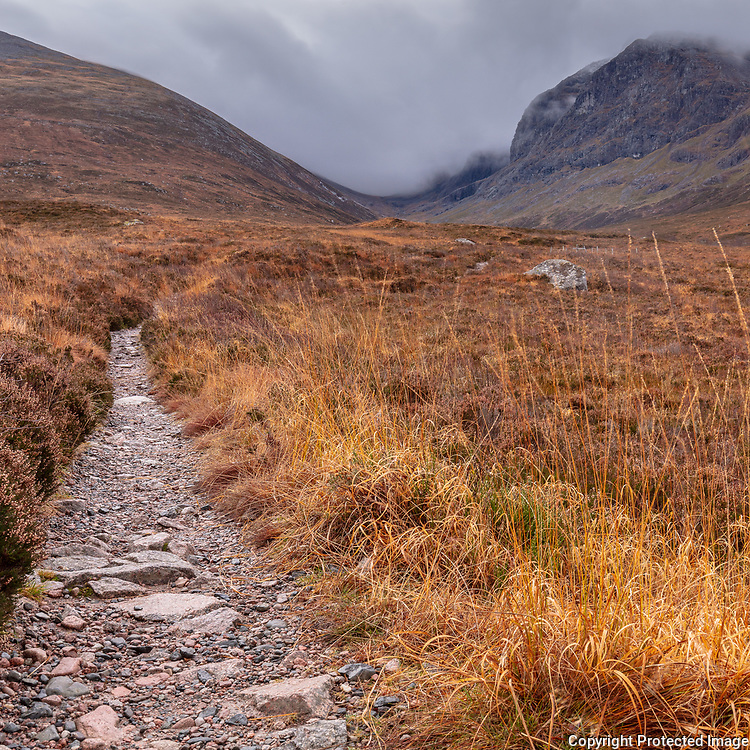 7.41am path to Ben Nevis from the north, Highland, Scotland.