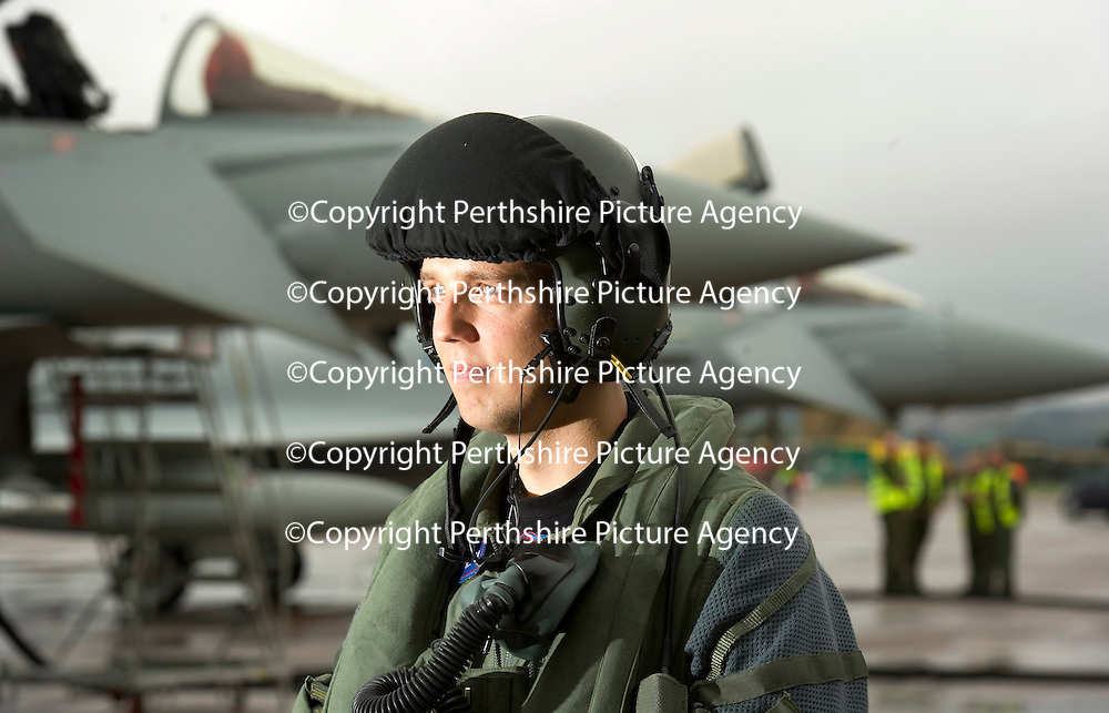 RAF Leuchars Airshow Preview...10.09.10 No 6 Squadron Typhoons Arrive....<br /> Flight Lieutenant Bruce McConnell from Prestwick who flew in the first Typhoon FGR4 to RAF Leuchars this morning which marks the start of the arrival of 6 Squadron which will be the first Typhoon Squadron based at Leuchars. At the airshow tomorrow 6 Squadron's Standard will be paraded to the Chief of the Air Staff with a flypast of a Typhoon, Spitfire and Tornado F3 which the Typhoon is replacing.<br /> see story by Maureen Young 07778 779888 or 01764 663191<br /> Picture by Graeme Hart.<br /> Copyright Perthshire Picture Agency<br /> Tel: 01738 623350  Mobile: 07990 594431