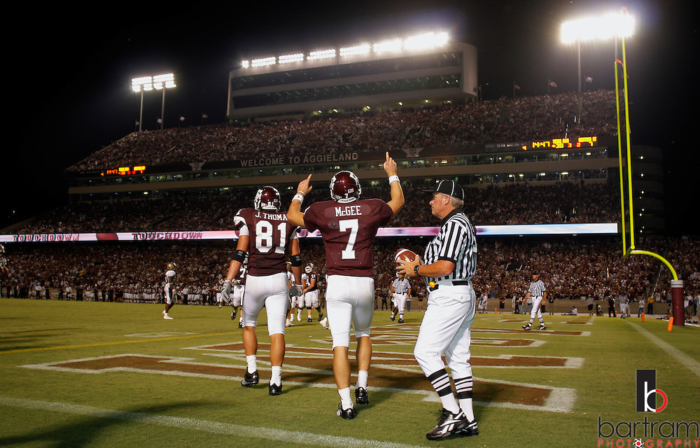Texas A&M quarterback Stephen McGee celebrates a fourth quarter touchdown against Montana State on Saturday, Sept. 1, 2007. Texas A&M won the game at Kyle Field in College Station, TX, 38-7.