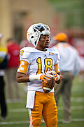 Nov 12, 2011; Fayetteville, AR, USA;  Tennessee Volunteers quarterback Max Arnold holds the ball before the start of a game against the Arkansas Razorbacks at Donald W. Reynolds Razorback Stadium. Arkansas defeated Tennessee 49-7. Mandatory Credit: Beth Hall-US PRESSWIRE