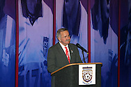 28 August 2005: 2005 Hall of Fame inductee Hank Steinbrecher is surprised during dinner with a phone call from his son serving overseas with the U.S. military. The Hall of Fame President's Dinner took place at the United States Soccer Hall of Fame in Oneonta, New York the night before the 2005 induction ceremony.