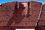 BOLIVIA, TIAHUANACO, AYMARA Gate of Sun with Virachocha relief