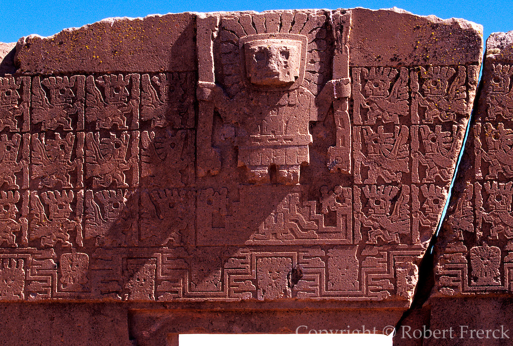 BOLIVIA, TIAHUANACO, AYMARA Gate of Sun with Virachocha relief