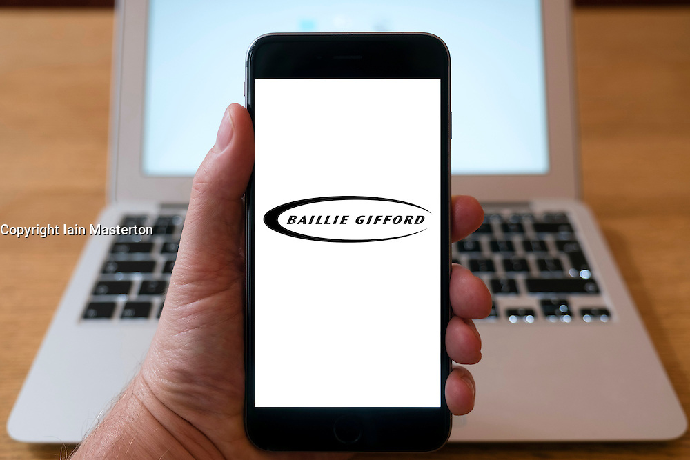 Baillie Gifford fund management company logo on smart phone screen.