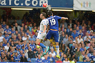 James McArthur of Crystal Palace and Diego Costa of Chelsea compete for the ball . Barclays Premier League, Chelsea v Crystal Palace at Stamford Bridge in London on Saturday 29th August 2015.<br /> pic by John Patrick Fletcher, Andrew Orchard sports photography.