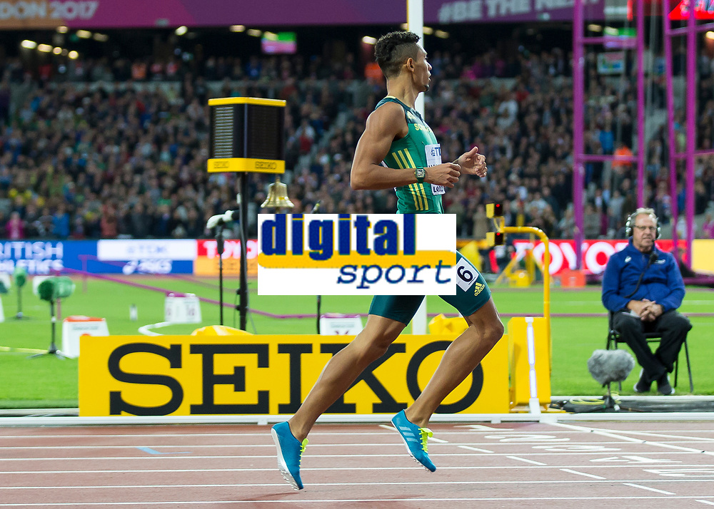 Athletics - 2017 IAAF London World Athletics Championships - Day Five, Evening Session<br /> <br /> Mens 400m Final<br /> <br /> Wayde Van Niekerk (South Africa) crosses the finish line to become World Champion and gold medalist  at the London Stadium<br /> <br /> COLORSPORT/DANIEL BEARHAM