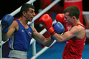 Peter Mcgrail of Great Britain (red) and Kevin Godla of The Czech Republic (bue) competing in the Men's Featherweight preliminaries during The Road to Tokyo European Olympic Boxing Qualification, Sunday, March 15, 2020, in London, United Kingdom. (Mitchell Gunn-ESPA-Images/Image of Sport)