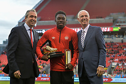 September 3, 2017 - Toronto, Canada - Alphonso Davies awards and the 2016 Canadian U-17 Player of the Year award before the Canada-Jamaica Men's International Friendly match at BMO Field in Toronto, Canada, on 2 September 2017. (Credit Image: © Anatoliy Cherkasov/NurPhoto via ZUMA Press)