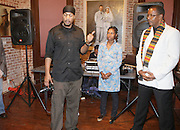 l to r: Akintola Hanif , Shantrell P. Lewis and Jamel Shabazz at ' Shoot-Out: Lonely Crusade..An Homage to Jamel Shabazz ' held at The George and Leah McKenna African American Museum of Art on December 12, 2008 in New Orleans, Louisana