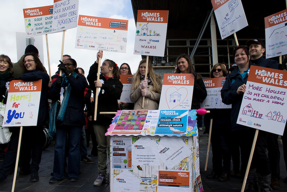 Protesters rally at the Senedd, Cardiff as part of the Homes for Wales campaign, for a right to a decent affordable home to call their own.