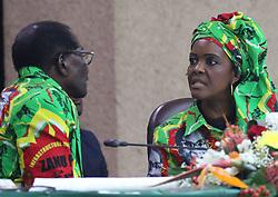 First Lady Grace Mugabe talks to his his husband and President Robert Mugabe at a meeting in Harare,Zimbabwe,July 27,2017.She challenged President Robert Mugabe to choose his successor(Xinhua/Stringer) (Photo by Xinhua/Sipa USA)