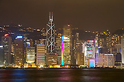 Hong Kong. The skyline at night, seen from Kowloon side.