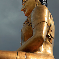 Asia, Bhutan. Thimpu. The Buddha Dordenma statue, bronze and gilded in gold, is the largest Buddha rupa in the world.
