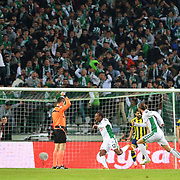 Torku Konyaspor's May Spiwe Mahlangu scores during their Turkish Super League soccer derby match Torku Konyaspor between Fenerbahce at the Konya Buyuksehir Belediyesi Torku Arena at Selcuklu in Konya Turkey on Saturday, 28 Februray 2015. Photo by Batuhan AKICI/TURKPIX