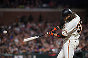 San Francisco Giants shortstop Brandon Crawford (35) hits at a Los Angeles Dodgers pitch at AT&T Park in San Francisco, California, on April 24, 2017. (Stan Olszewski/Special to S.F. Examiner)