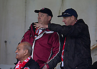 Fleetwood Town fans watch their team win 1-0<br /> <br /> Photographer Stephen White/CameraSport<br /> <br /> Football - The Football League Sky Bet League One - Gillingham v Fleetwood Town -  Friday 3rd April 2015 - MEMS Priestfield Stadium - Gillingham<br /> <br /> © CameraSport - 43 Linden Ave. Countesthorpe. Leicester. England. LE8 5PG - Tel: +44 (0) 116 277 4147 - admin@camerasport.com - www.camerasport.com