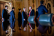 White House Counsel Pat Cipollone (center left) and Representative Mark Meadows (R-NC) (center right) as they leave their meeting room with the rest of President Donald Trumps defense team and head to the Senate floor for the Senate impeachment trial of President Trump on January 24, 2020 in Washington, DC. Democratic House managers conclude their opening arguments on Friday as the Senate impeachment trial of President Donald Trump continues into its fourth day.