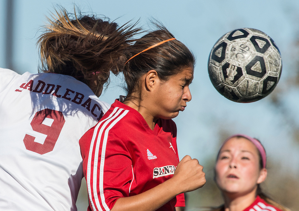 Players from Saddleback College and Santa Ana College battle for a ball in their game on Friday, November 6, 2015. Saddleback College went on to win the game by a score of 3-1.