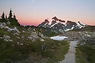 A path heads toward Mount Shuksan and Huntoon Point at the Mount Baker-Snoqualmie National Forest in Washington State, USA