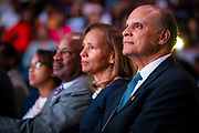 """Chancellor Harold L. Martin Sr. and wife Davida Wagner Martin listen as master communicator, multidimensional businessman and international thought leader T.D. Jakes speaks about """"Living Your Best Life"""" at North Carolina Agricultural and Technical State University's spring Chancellor's Speaker Series on Thursday, April 11, 2019.<br /> <br /> (Chris English/Tigermoth Creative)"""