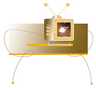 Conceptual illustration of tv on table with aerial