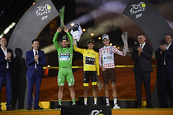 July 28, 2019, France: PARIS, FRANCE - JULY 28 : SAGAN Peter (SVK) of BORA - HANSGROHE, BERNAL GOMEZ Egan Arley (COL) of TEAM INEOS and BARDET Romain (FRA) of AG2R LA MONDIALE pictured during the podium ceremony after stage 21 of the 106th edition of the 2019 Tour de France cycling race, a stage of 128 kms between Rambouillet and Paris Champs-Elysees on July 28, 2019 in Paris, France, 28/07/2019 (Credit Image: © Panoramic via ZUMA Press)